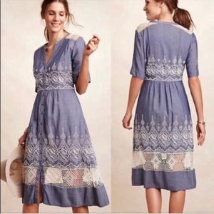 Moulinette Soeurs Chambray and Lace midi dress